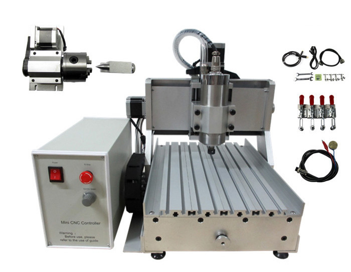 Russia tax free usb cnc router 3020 with  1.5KW water cooling spindle 4 axis cnc milling machine russia tax free 3d woodworking cnc router cnc 6040 4 axis cnc milling machine with spindle 500w