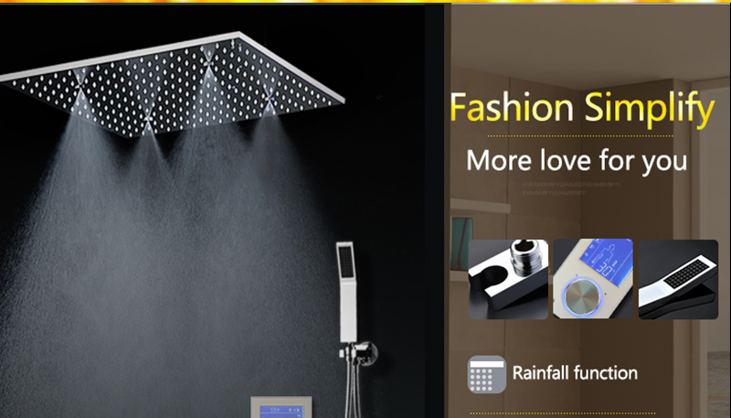 3Jets Intelligent Digital LCD Display Rain Shower Set Installed in Wall 20 SPA Mist Rainfall Thermostatic Touch Panel Shower (14)