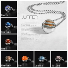 Globe Double Sided Necklace Solar System Planet Venus Mercury Mars Saturn Uranus Neptune Earth Sun Pendant Dome Glass Necklaces