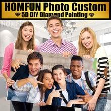 ¡HOMFUN Personalización de foto! ¡Personalizado privado! Pintura de diamante 5D DIY, punto de cruz, Cuadrado 3D, regalo de decoración