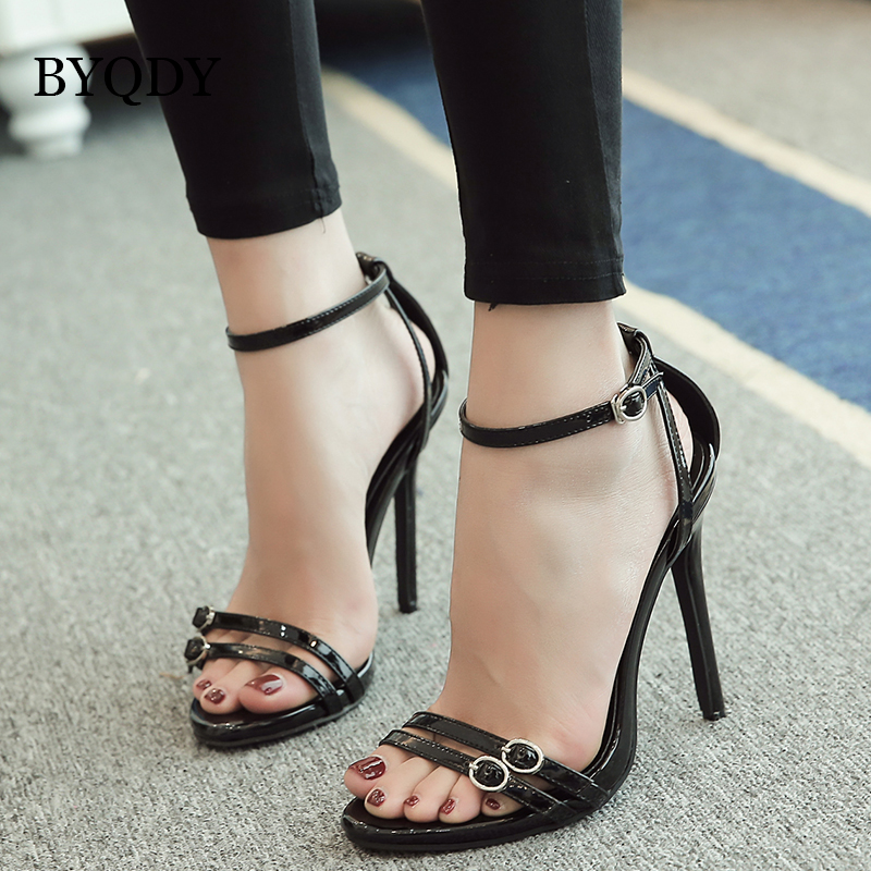 BYQDY Fashion Woman Summer Sandals High Heels Open Toe Thin Sexy Buckle Strap Shoes Footwear