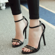 цена на BYQDY Fashion Woman Summer Sandals High Heels Open Toe Sandals Thin Heels Sexy Sandals Buckle Strap Shoes Woman Footwear
