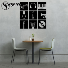 Music Instrument Piano Guitar Art Blackboard Chalkboard Vinyl Wall Sticker Decals 58x58cm