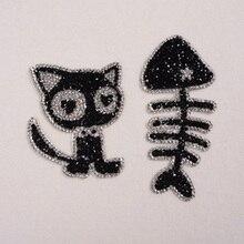 Komik Işlemeli Yamalar Rhinestones Kedi Ve Balık Kemik Desen DIY Demir-on Dikiş Aplike Giysi Üzerinde Etiket Şapka çocuk