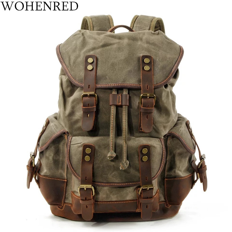 WOHENRED Large Capacity Leather Canvas Backpacks For Men School Bags Vintage Waterproof Daypack High Quality Laptop