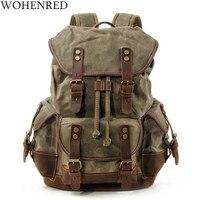 WOHENRED Large Capacity Leather Canvas Backpacks For Men School Bags Vintage Waterproof Daypack High Quality Laptop Backpack Bag