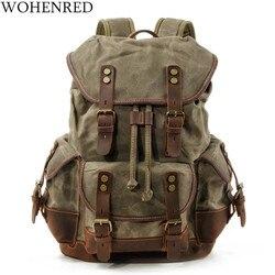 WOHENRED, mochilas de lona de cuero de gran capacidad para hombres, mochilas escolares Vintage, mochila resistente al agua, mochila para ordenador portátil de alta calidad