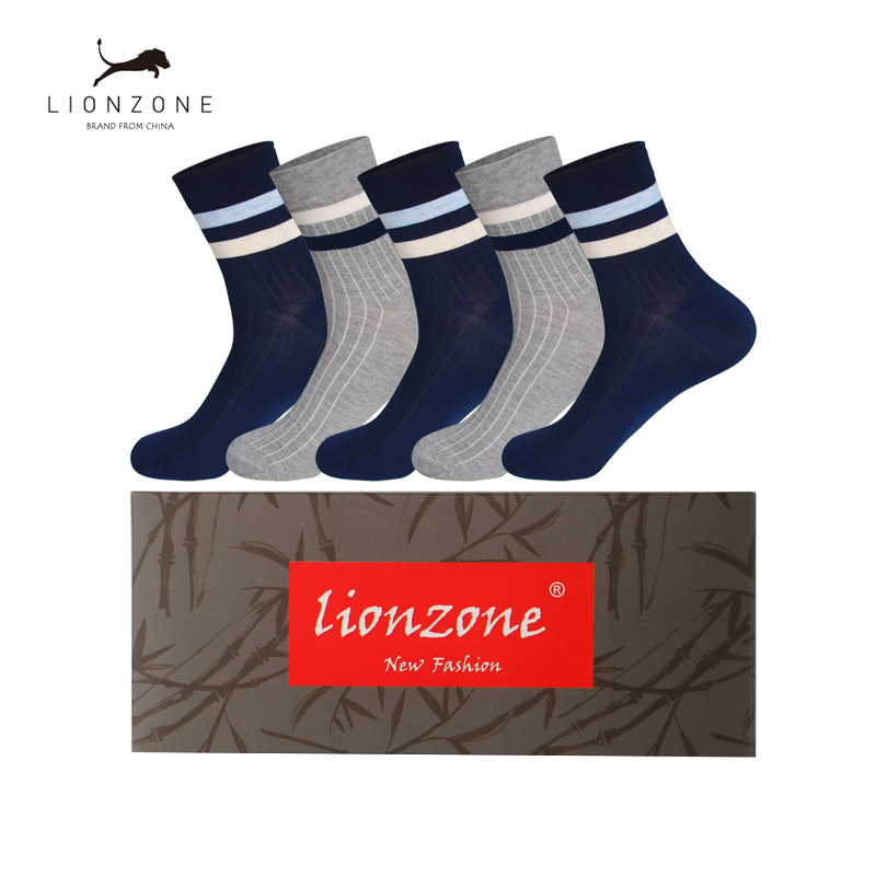 Funny Stripe Design Casual Men Socks Blue/Grey 2Colors Antibacterial Breathable Daily Bamboo Fiber Man Socks 5Pairs/Lot