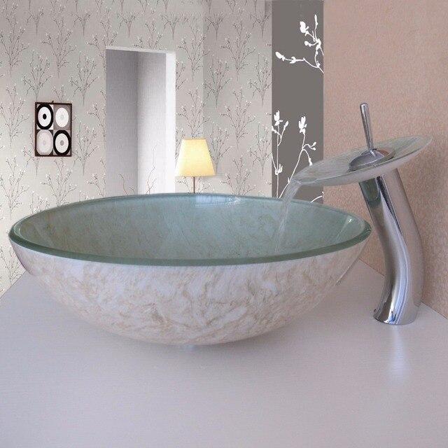 glass bathroom sinks. simple/modern/pastoral beige marble on both sides round tempered glass bathroom wash basin sinks