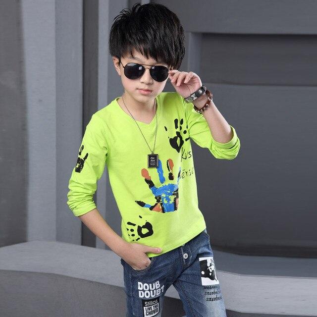 Новый Дизайн 2016 Мода Осень Мальчиков С Длинным Рукавом Футболки Мальчиков причинно Pattern Хлопок Добавить Толстые Рубашки Дети Топы Тис Одежда горячая