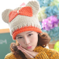 Very Cute Cat Ear Contrast Color Bow Winter Women Knitted Hat Lady Pure Handmade Autumn Knitting Beanie Ski Cap With Drill