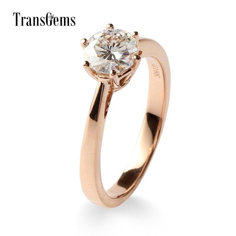 Transgems 1ct 1carat مختبر نمت مويسانيتي الماس ارتفع الذهب خواتم الخطبة الزفاف الذكرى باند الصلبة 14 كيلو