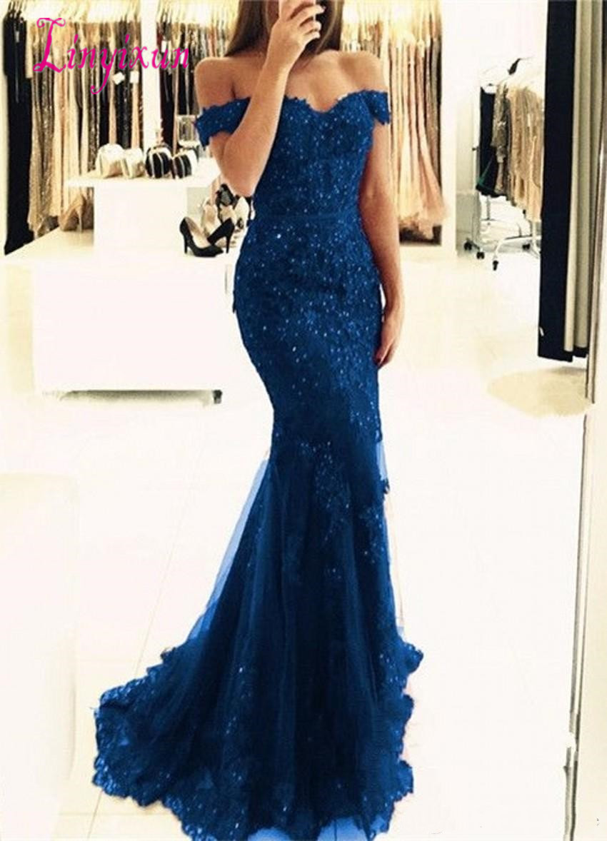New Off The Shoulder Mermaid Long   Prom     Dresses   Tulle Appliques Beaded Custom Made Formal Evening Gowns   Prom   Party   Dresses