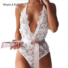 Weyes & Kelf Sexy Deep V-neck Women Bodysuit 2018 Summer Lace Hollow Out Sleeveless Body Femme
