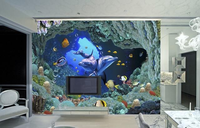 2014 Wallpaper Roll Tapete Free International Large Underwater World  Wallpapers European Minimalist Double Dolphin Mural Water