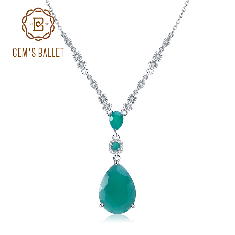 GEM'S BALLET 925 Sterling Silver Vintage Jewelry Natural Green Agate Gemstone Pendant Necklace For Women Wedding Fine Jewelry