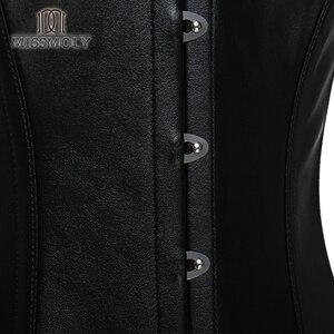 Image 5 - Fräulein Moly Steampunk Korsetts sexy Gothic korsett 10 Stahl Knochen Bustier plus größe Leder Frauen Mieder Bodyshaper Overbust Tops