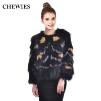 CHEWIES Natural Fox Fur Coat For Women Winter Genuine Female Silver Fox Jacket 2018 New Arrival Slim Fur Outerwear Coat 3.3