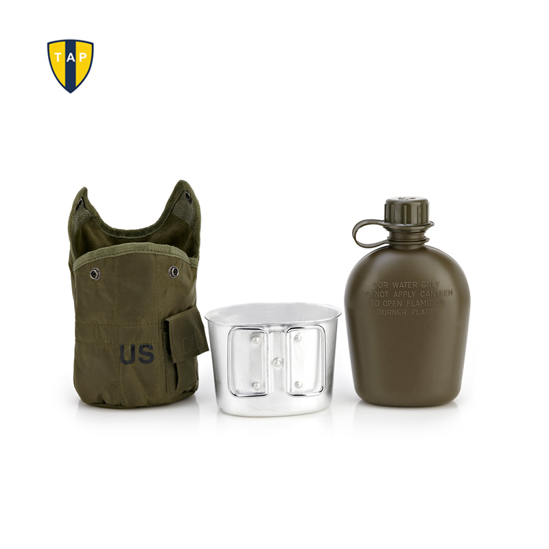 U.S. Army Water Bottle Aluminum Cooking Cup US Camouflage Military Canteen Camping Hiking Survival Kettle Outdoor Tableware