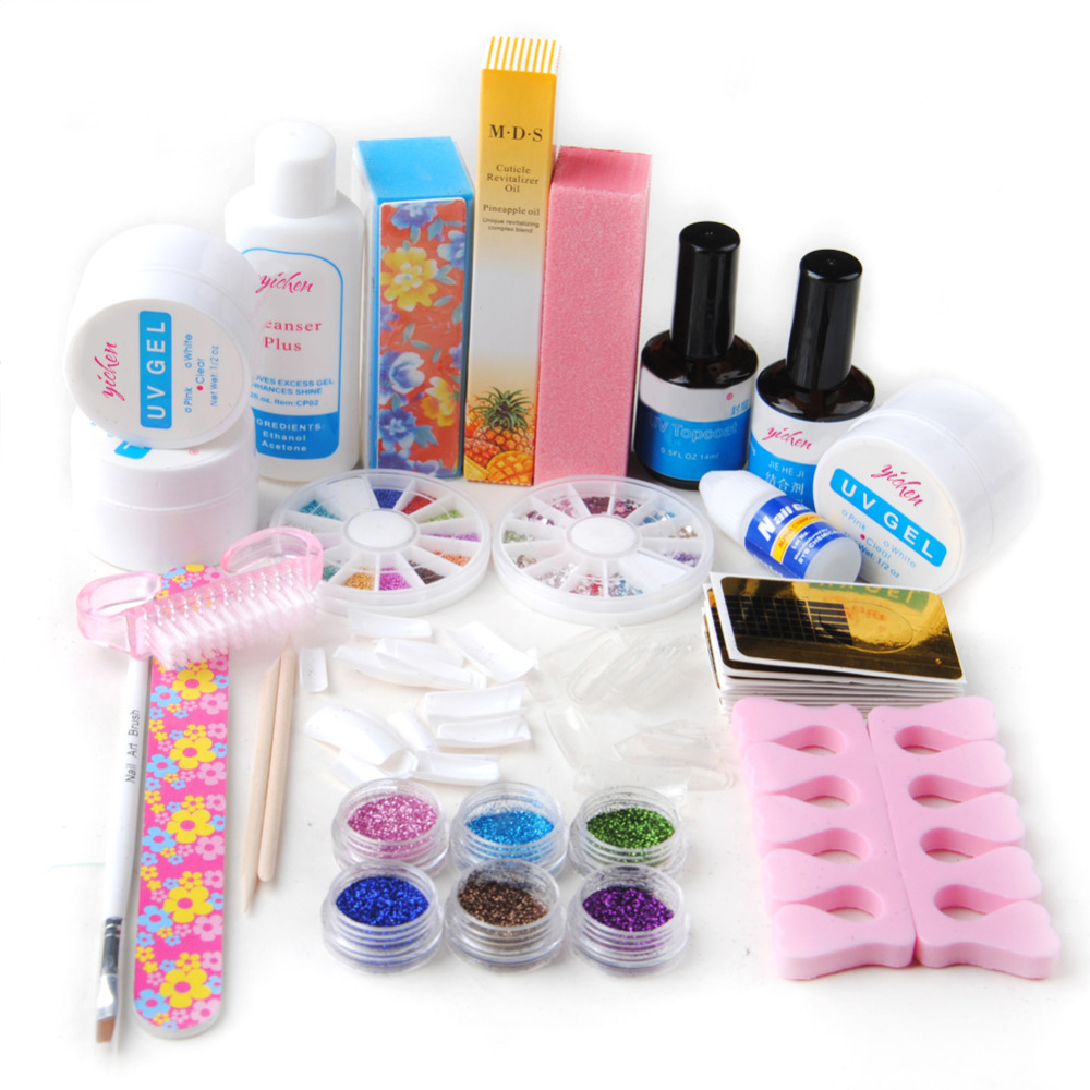 UV Gel Nail Art Kit Manicure Glitters Rhinestone Glue Topcoat Primer Tips Extension Nail Tips Sets Tools For Manicure Set