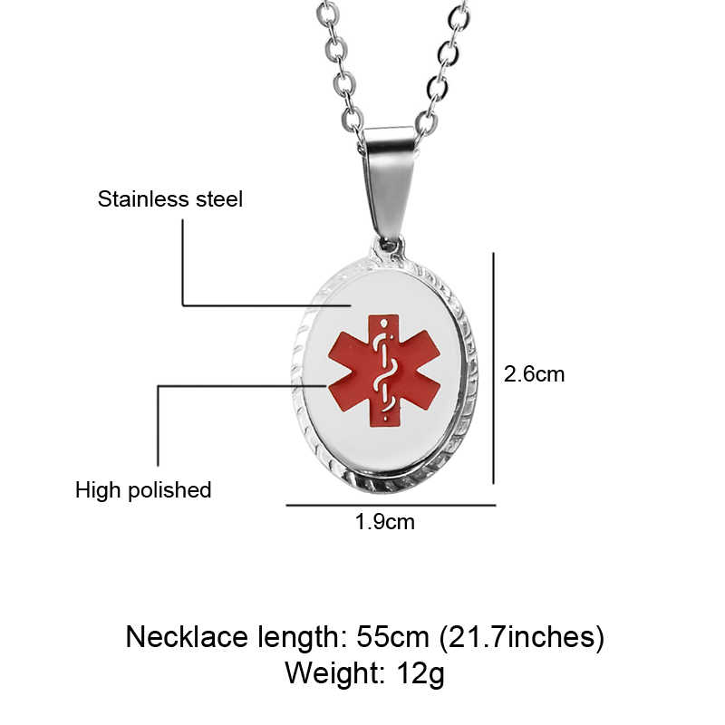Personalized Name Medical Sign Pendant Necklaces Men Jewelry Gifts Round Silver Stainless Steel Military Army Style