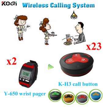 wireless waiter service center call system for restaurant from gold supplier china  2 wrist watch + 23 bell button