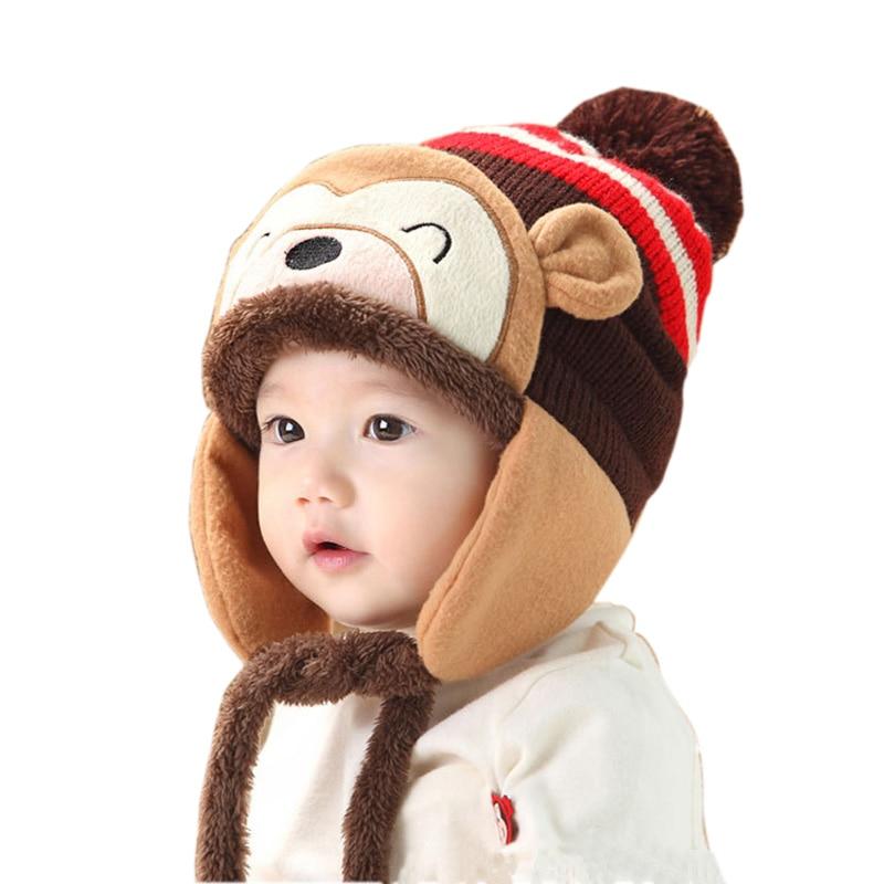 In Quality New Fashion Little Monkey Ears Baby Hat Autumn Winter Warm Infan Children Cap Knitted Cap Kids Boys Girls Excellent