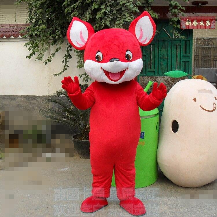 Vente chaude adulte mignon souris rouge mascotte déguisements costumes Halloween costumes de fête