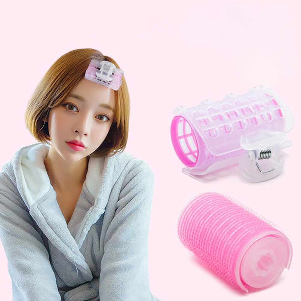 3 Pcs Hair Rollers Bang Curlers Self-Grip Nylon Sticky Curling Tools With Plastic Clips Hairdressing Supplies Pink Small Size 2.