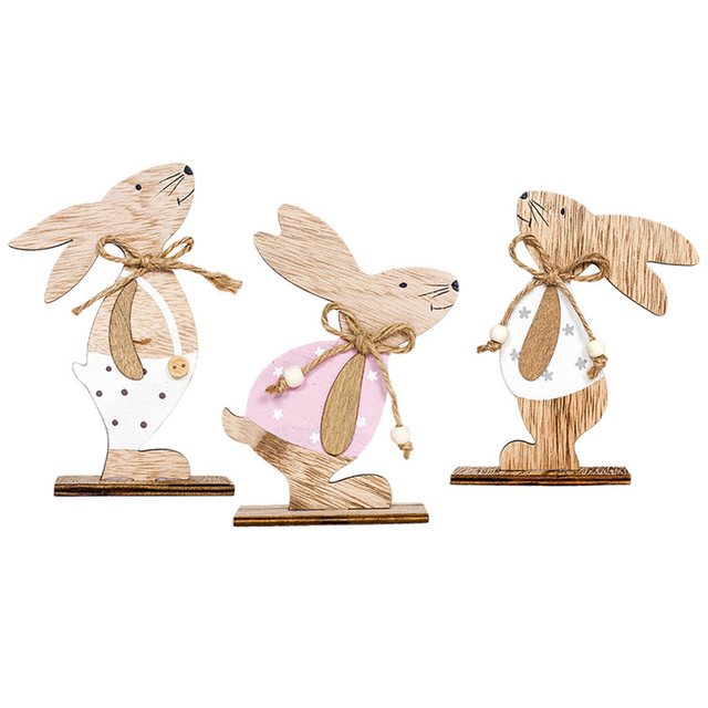 Wooden Rabbit Shapes Easter decor items