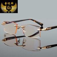 Fashion Rimless Men Woman Style Reading Glasses Gold Colour Square Rhinstone Small Size Presbyopia Glasses Frame