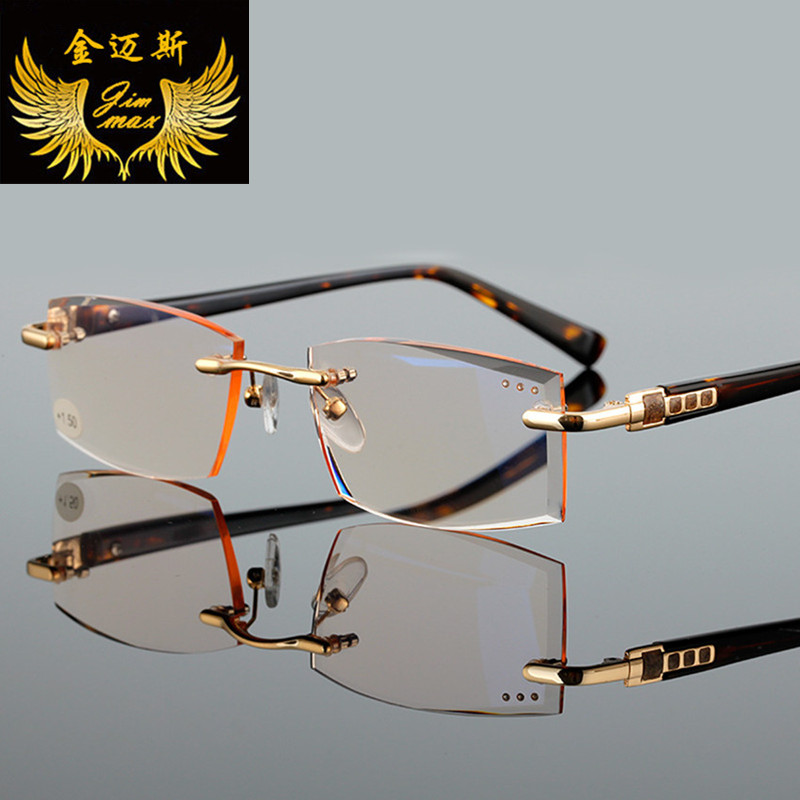 Fashion Rimless Men Woman Style Reading Glasses Gold Colour Square Rhinstone Small Size