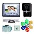 7 Дюймов Проводной Дверной Звонок Двери Видео-Телефон Домофон 1-камера 1-монитор Ночного Видения С Электронным Замком, Питания, RFID Брелки