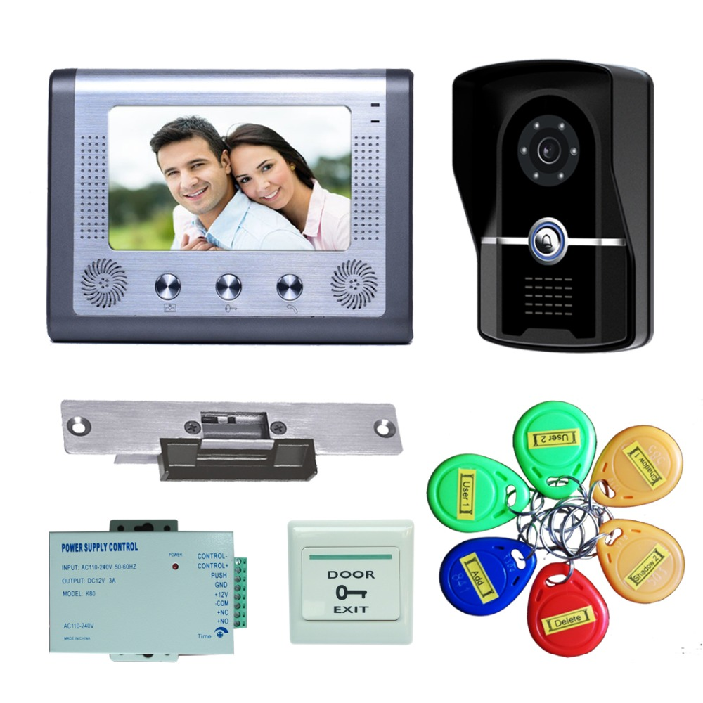 YobangSecurity 7 Inch Wired Doorbell Door Video Phone Intercom 1-Camera 1-Monitor Night Vision With Electronic Lock,RFID Keyfobs door intercom video cam doorbell door bell with 4 inch tft color monitor 1200tvl camera