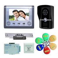 YobangSecurity 7 Inch Wired Doorbell Door Video Phone Intercom 1 Camera 1 Monitor Night Vision With Electronic Lock,RFID Keyfobs