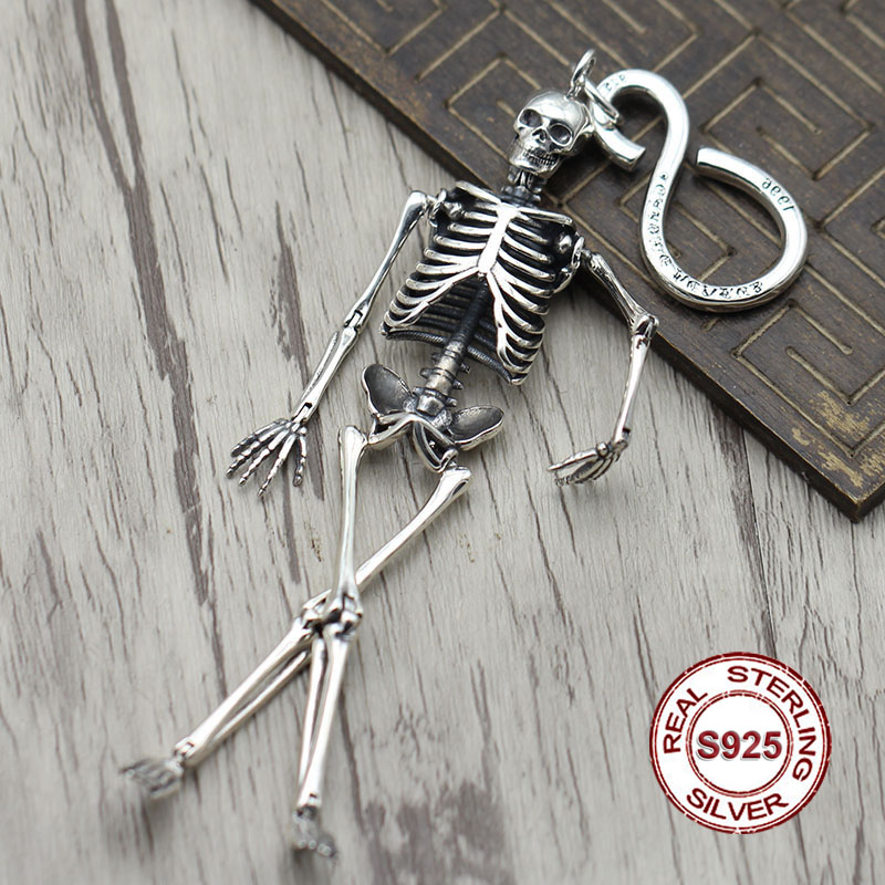 S925 sterling silver key ring Retro personality hip-hop skull unique bag button Thai silver punk key chain Send lover