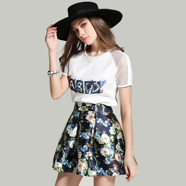 Nueva Moda 2017 Verano Otoño la Ropa de Las Mujeres Impreso O-cuello de la letra + Falda 2 Unidades Set Falda de Las Mujeres de las mujeres ropa de Malla conjunto