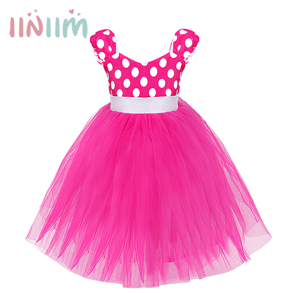 Baby Girls Minnie Mouse Polka Dots Ball Gown Dress Birthday Party Kids Childrens Christmas Costumes Cosplay Fancy Tutu Clothing baby kids dress minnie mouse party fancy costume cosplay girls ballet tutu dress ear headband girl polka dot clothing girl dress