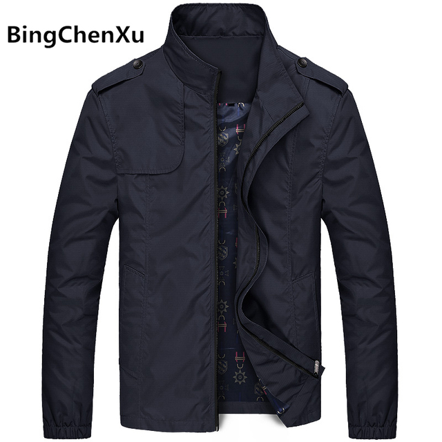 Bingchenxu Solid Color Jacket Men Brand Jackets Fashion Trend Slim Fit Casual Mens Jackets And Coats M-4XL 2019 Veste Homme 487
