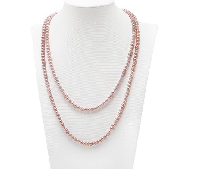 200cm 80 ''femmes bijoux AAA perle naturelle 6x7mm lumineux violet perle d'eau douce long collier cadeau de mode