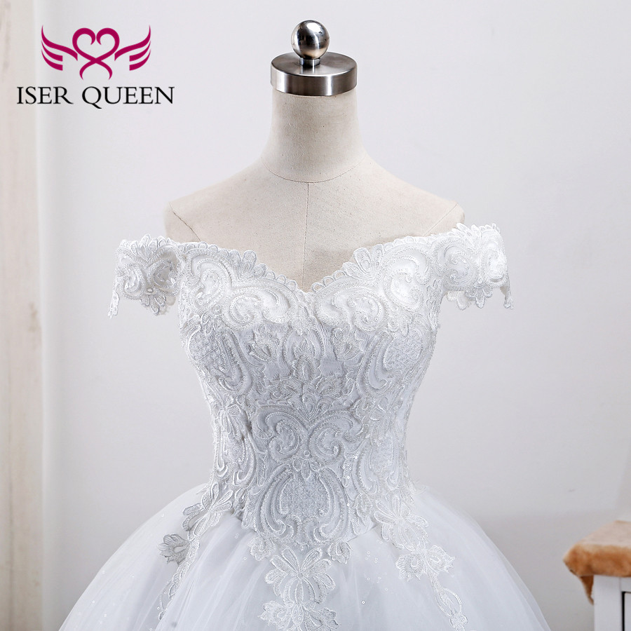 Beautiful Embroidery Beading Lace Ball Gown Wedding Dresses Vestidos De Novia 2019 Cap Sleeves Bridal Dress Wedding Gowns WX0002