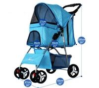 Dot style Folding Dog Stroller Portable Dog trolley pet cart