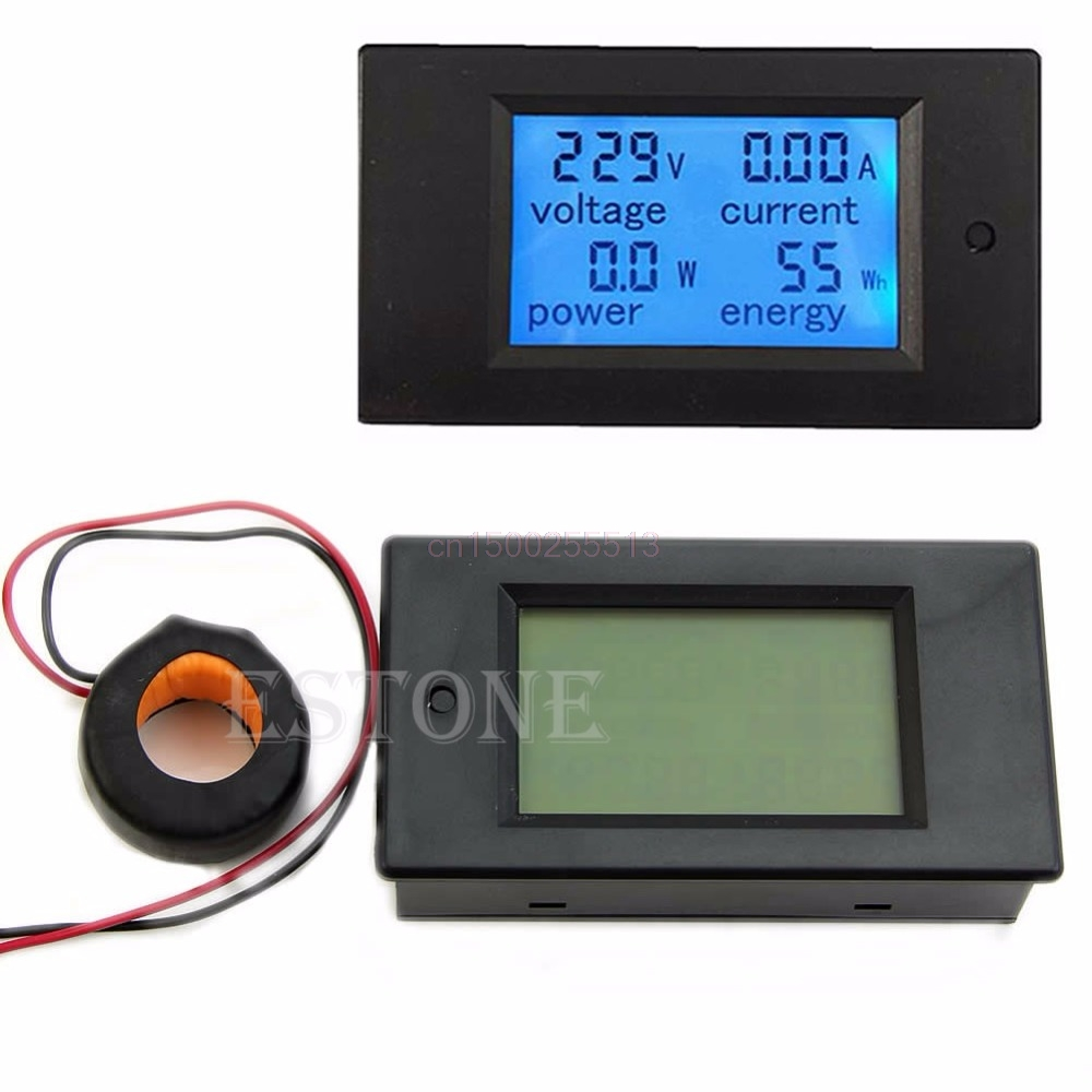 AC 100A LCD Digital Volt Watt Power Meter Blue Backlight Panel Ammeter Voltmeter 110V 220V hp9800 pc usb port 4500w 85v 110v 220v 265v ac 20a electric power energy monitor tester watt meter analyzer with socket output