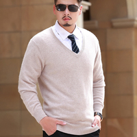100% Cashmere Knitted Sweaters Men Vneck 8Colors Thick Pullovers High Quality Man Jumpers Pure Cashmere Knitwear Male Sweater