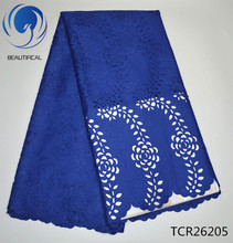 BEAUTIFICAL Cotton swiss lace fabric Royal blue Laser Cutting 2017 Fashion style african voile TCR262