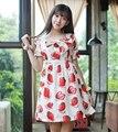 Para mujer lolita fresa fruta sweet dress harajuku de manga corta lindo/sleevess fairy kei de una sola pieza con el arco