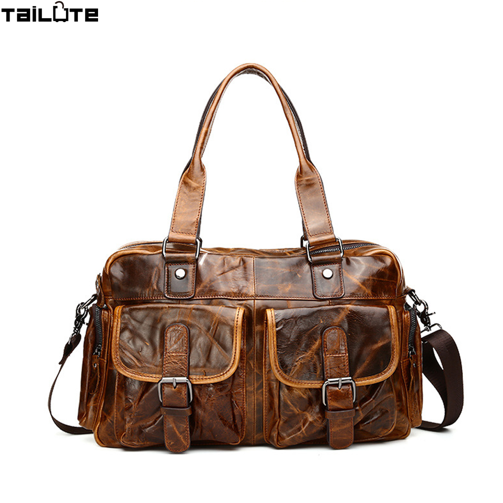 tailute genuine leather menu0027s travel bags large ca - Mens Leather Duffle Bag
