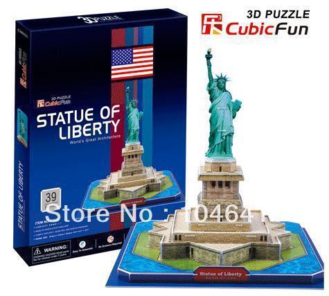 Статуя свободы CubicFun 3D образовательные головоломка Бумаги и EPS Модель Бумажного Главная Украшение для подарка рождества