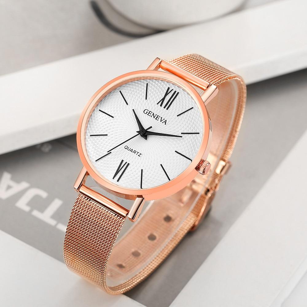 Geneva Luxury Women Watch Slim Sliver Mesh Stainless Steel Band Quartz WristWatch Casual Ladies Watches Relogio Feminino #pl260