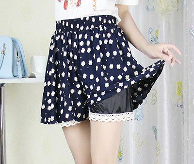 New Korean summer lace skirt cotton women's hakama printed Casual skirt